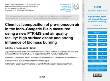Chemical Composition of Pre-monsoon Air ... by Sinha, V.