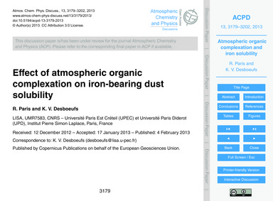 Effect of Atmospheric Organic Complexati... by Paris, R.