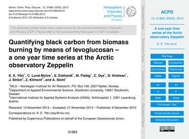 Quantifying Black Carbon from Biomass Bu... by Yttri, K. E.