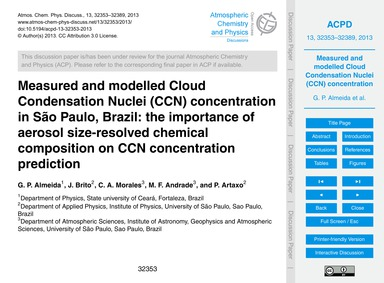 Measured and Modelled Cloud Condensation... by Almeida, G. P.