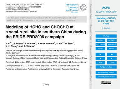 Modeling of Hcho and Chocho at a Semi-ru... by Li, X.
