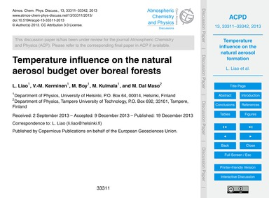 Temperature Influence on the Natural Aer... by Liao, L.