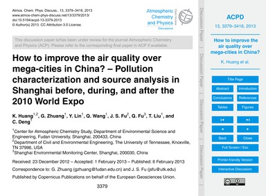 How to Improve the Air Quality Over Mega... by Huang, K.
