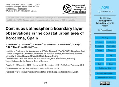Continuous Atmospheric Boundary Layer Ob... by Pandolfi, M.