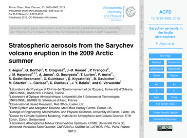 Stratospheric Aerosols from the Sarychev... by Jégou, F.