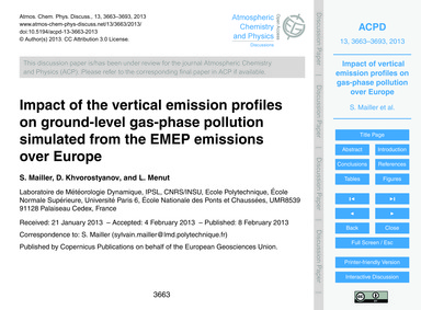 Impact of the Vertical Emission Profiles... by Mailler, S.
