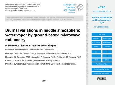 Diurnal Variations in Middle Atmospheric... by Scheiben, D.