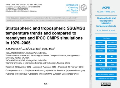 Stratospheric and Tropospheric Ssu/Msu T... by Powell Jr., A. M.