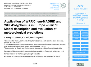 Application of Wrf/Chem-madrid and Wrf/P... by Zhang, Y.