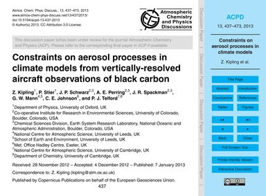 Constraints on Aerosol Processes in Clim... by Kipling, Z.