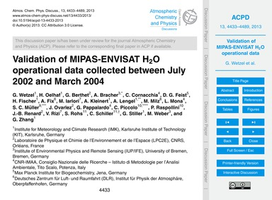 Validation of Mipas-envisat H2O Operatio... by Wetzel, G.