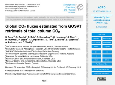 Global Co2 Fluxes Estimated from Gosat R... by Basu, S.