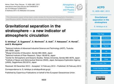 Gravitational Separation in the Stratosp... by Ishidoya, S.