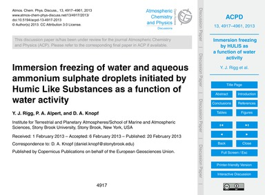 Immersion Freezing of Water and Aqueous ... by Rigg, Y. J.