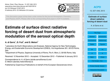Estimate of Surface Direct Radiative For... by Di Sarra, A.