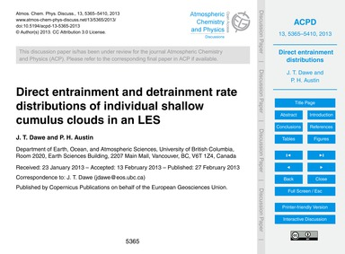 Direct Entrainment and Detrainment Rate ... by Dawe, J. T.
