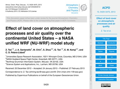 Effect of Land Cover on Atmospheric Proc... by Tao, Z.