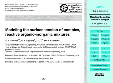 Modeling the Surface Tension of Complex,... by Schwier, A. N.