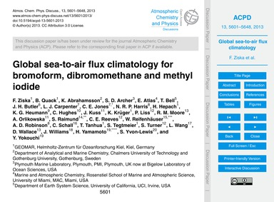 Global Sea-to-air Flux Climatology for B... by Ziska, F.