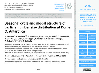 Seasonal Cycle and Modal Structure of Pa... by Järvinen, E.