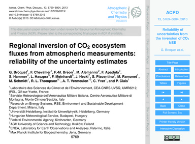 Regional Inversion of Co2 Ecosystem Flux... by Broquet, G.