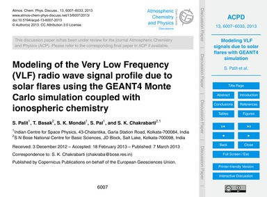 Modeling of the Very Low Frequency (Vlf)... by Palit, S.