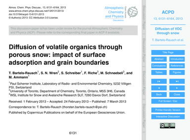 Diffusion of Volatile Organics Through P... by Bartels-rausch, T.