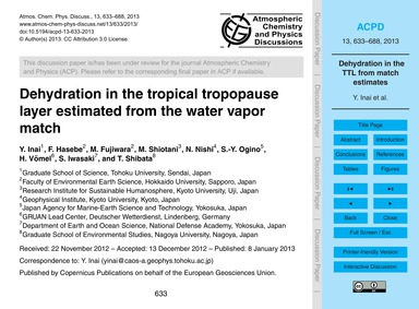 Dehydration in the Tropical Tropopause L... by Inai, Y.