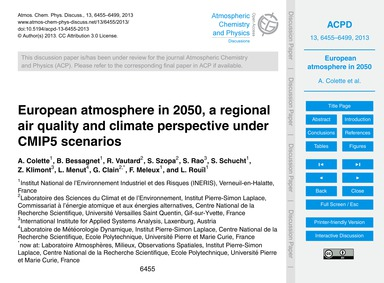 European Atmosphere in 2050, a Regional ... by Colette, A.