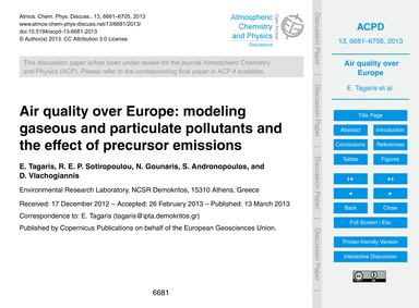 Air Quality Over Europe: Modeling Gaseou... by Tagaris, E.