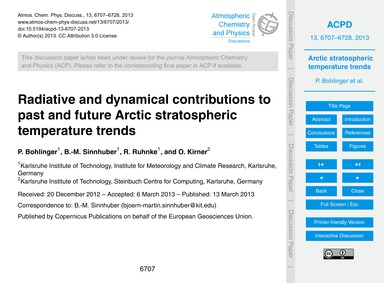 Radiative and Dynamical Contributions to... by Bohlinger, P.