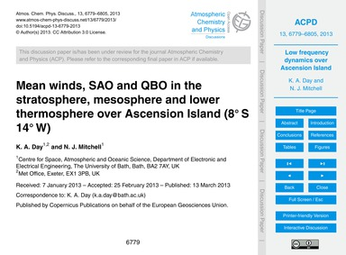 Mean Winds, Sao and Qbo in the Stratosph... by Day, K. A.