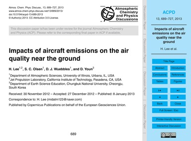 Impacts of Aircraft Emissions on the Air... by Lee, H.