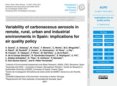 Variability of Carbonaceous Aerosols in ... by Querol, X.