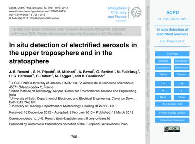 In Situ Detection of Electrified Aerosol... by Renard, J.-b.