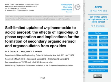 Self-limited Uptake of Α-pinene-oxide to... by Drozd, G. T.