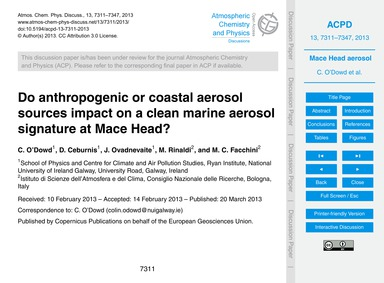 Do Anthropogenic or Coastal Aerosol Sour... by O'Dowd, C.
