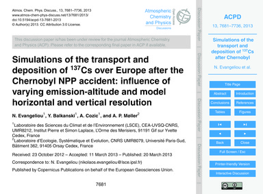Simulations of the Transport and Deposit... by Evangeliou, N.