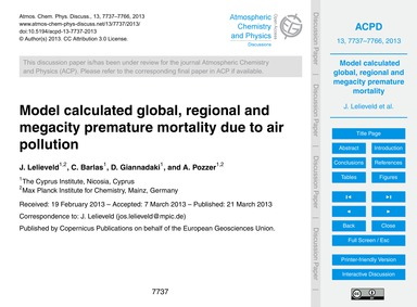 Model Calculated Global, Regional and Me... by Lelieveld, J.