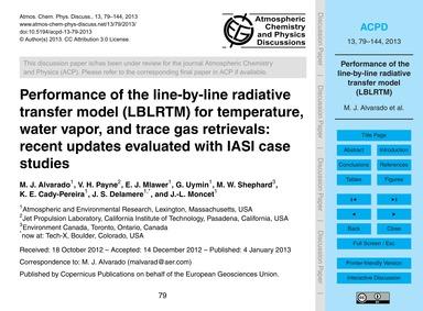 Performance of the Line-by-line Radiativ... by Alvarado, M. J.