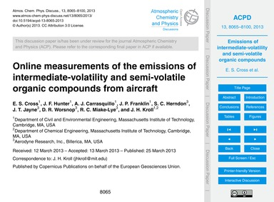 Online Measurements of the Emissions of ... by Cross, E. S.