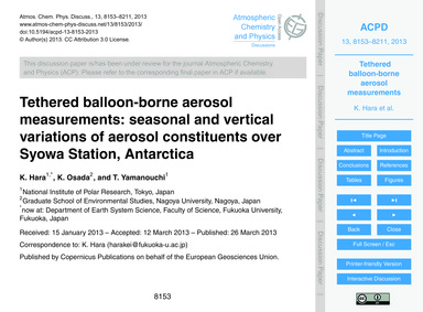 Tethered Balloon-borne Aerosol Measureme... by Hara, K.