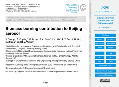 Biomass Burning Contribution to Beijing ... by Cheng, Y.