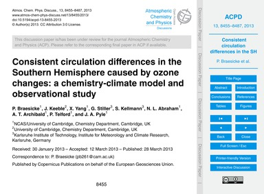 Consistent Circulation Differences in th... by Braesicke, P.