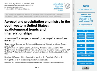 Aerosol and Precipitation Chemistry in t... by Sorooshian, A.