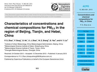 Characteristics of Concentrations and Ch... by Zhao, P. S.