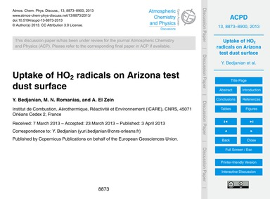 Uptake of Ho2 Radicals on Arizona Test D... by Bedjanian, Y.