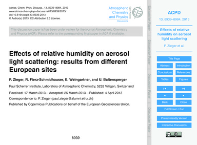 Effects of Relative Humidity on Aerosol ... by Zieger, P.