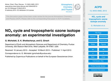 NoX Cycle and Tropospheric Ozone Isotope... by Michalski, G.