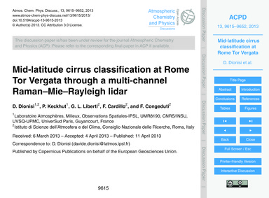 Mid-latitude Cirrus Classification at Ro... by Dionisi, D.